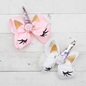 Other - NWT! Boutique Girls Unicorn Bow - Pink or White